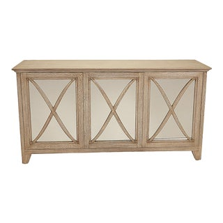 Nancy Corzine Driftwood /Oak Lombard Mirrored Buffet Console For Sale