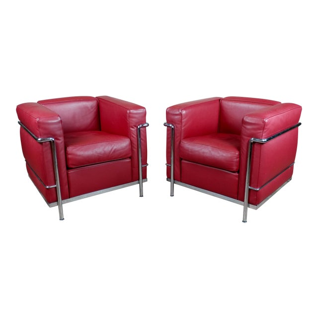 Le Corbusier LC2 Red Leather Poltrona Armchairs by Cassina - A Pair ...