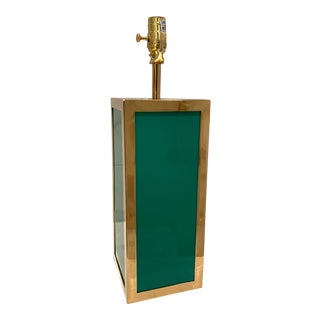 Jonathan Adler Barcelona Emerald Green and Polished Brass Table Lamp For Sale