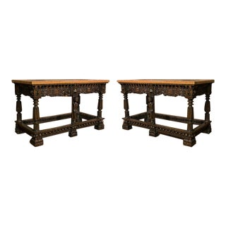 Pair of English Carved Consoles W/ Faux Painted Top For Sale