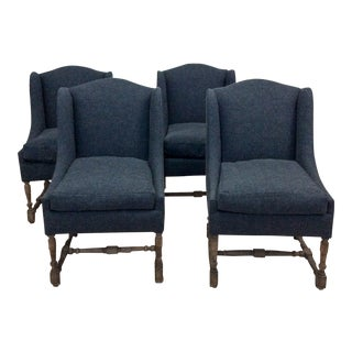 Blue & Gray Side Chairs - Set of 4 For Sale