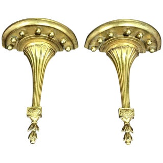 Borghese Neoclassical Gilt Wall Brackets - A Pair