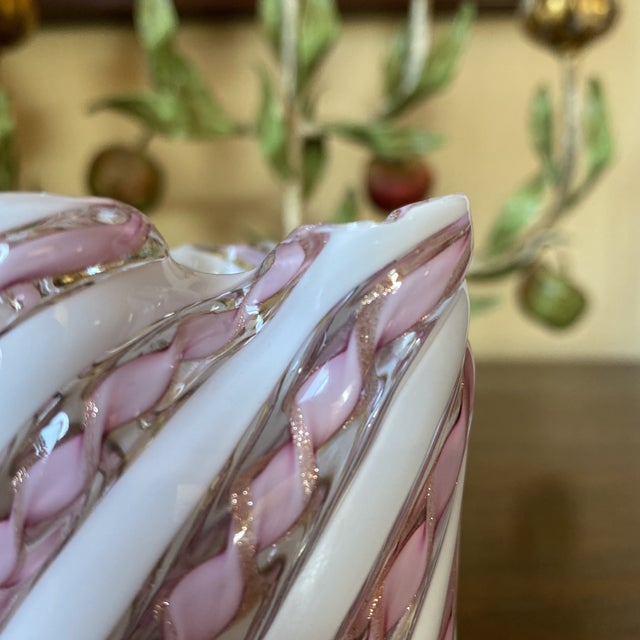 Fratelli Toso Murano Glass Zanfirico Pink Ribbon Handkerchief Vase For Sale - Image 9 of 12
