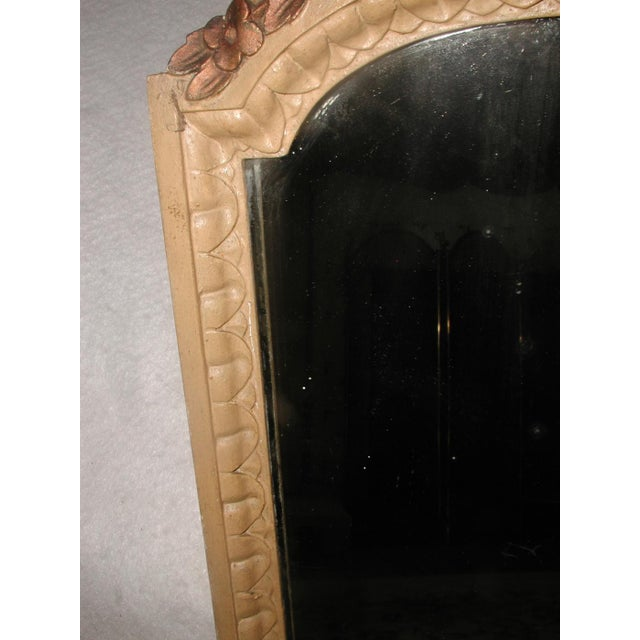 Antique 19th C. Petite Carved Wooden Arched Mirror For Sale - Image 4 of 7