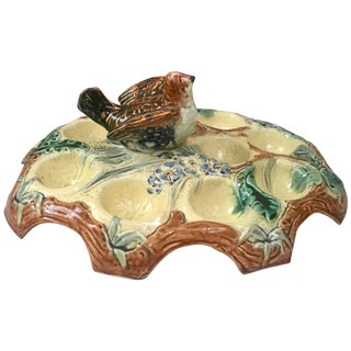 Belgium Majolica Egg Plate with Bird, Circa 1880 For Sale