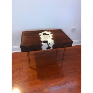 Modern Cow Hide Upholstered Bench With Brass Legs Preview