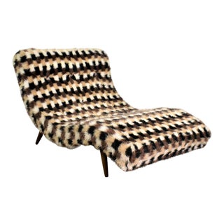 Wave Chaise Lounge in the Style of Adrian Pearsall With Original Faux Fur Upholstery For Sale