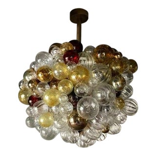 Nessing Design Custom Hand Blown Bubble Glass Chandelier For Sale