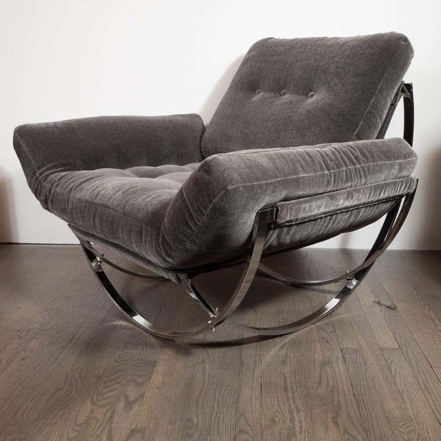 Midcentury Button Tufted Chair & Ottoman in Chrome & Graphite Mohair by Stendig - a Pair For Sale - Image 11 of 13