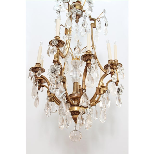 Late 19th Century Louis XV Style Chandelier with Rock Crystals from Nesle Inc. New York For Sale - Image 5 of 10