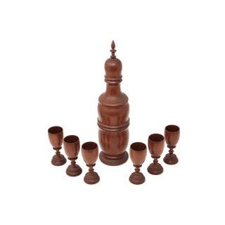 Vintage Mid-Century Modern Wood Decanter and Cups - Set of 7 For Sale