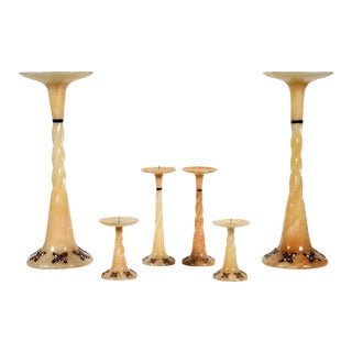 John Hardy Sterling Silver & Onyx Candelabras - Set of 6 For Sale