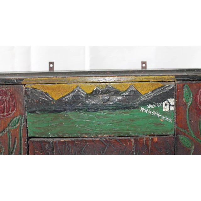 Wood 19th Century Hand-Carved and Painted Folk Art Hanging Wall Cabinet For Sale - Image 7 of 10
