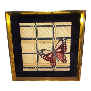Vintage Needlepoint Butterfly Artwork For Sale