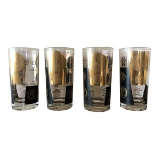 Final Markdown! Cera Mid-Century Black and Gold Coin Glasses - Set of 4 For Sale