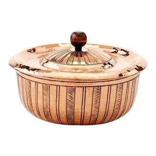 "Amoretti Brothers Handmade 5.5"" Copper Cocotte with Hand-engraved Lines For Sale"