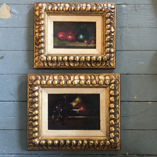 Gallery Wall Collection- 2 Original Frank Leon Small Still Life Paintings With Fruit Original Carved Wood Frames 1950's For Sale In Philadelphia - Image 6 of 6
