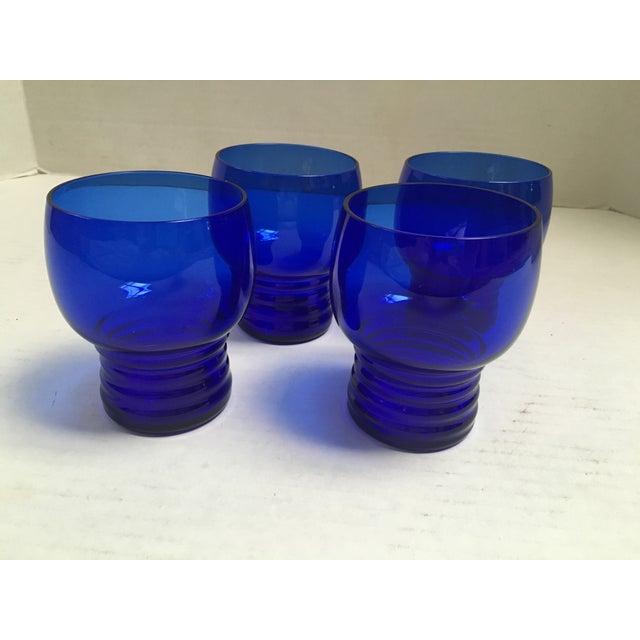 Blue Cobalt Mid-Century Cocktail Glasses- S/4 For Sale - Image 7 of 7