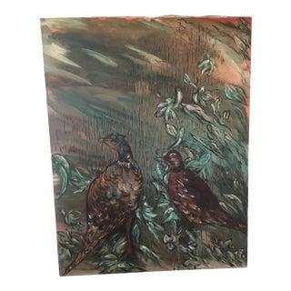 "Vintage Mid-Century Primitive Folk Art ""Pheasant Game Bird"" Teal Oil Painting For Sale"