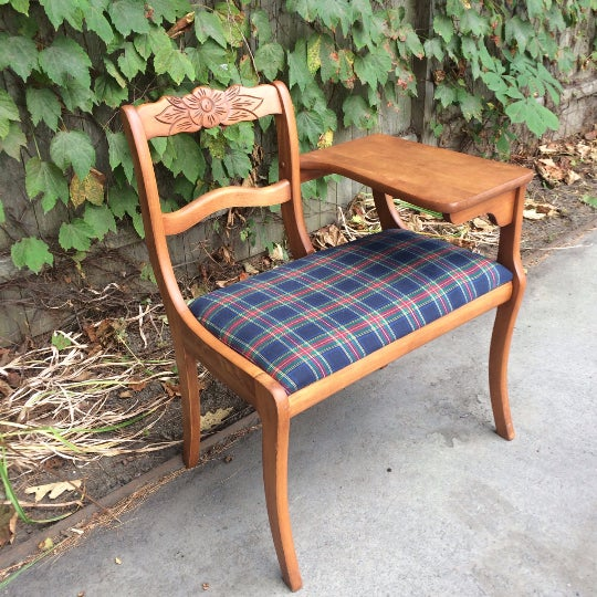 Gossip Telephone Table with Plaid Seat - Image 2 of 6