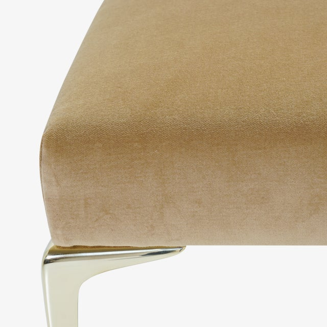 Camel Colette Brass Ottomans in Camel Velvet by Montage, Pair For Sale - Image 8 of 9