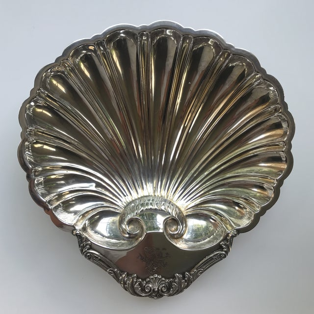 Vintage; Hollywood Regency era, Silver plated dolphin footed shell or fan shaped server platter, with fluted interior...