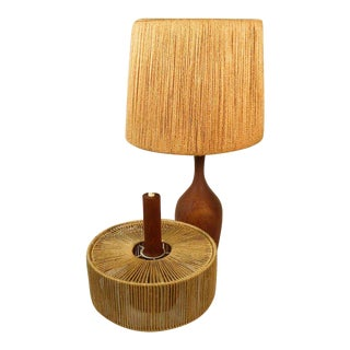 1960s Mid Century Modern Teak Table Lamp and Pendant - 2 Pieces For Sale