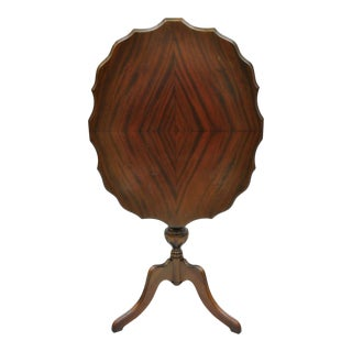 Antique Walnut Jacobean Style Tilt Top Pedestal Base Side Tea Table by Imperial For Sale