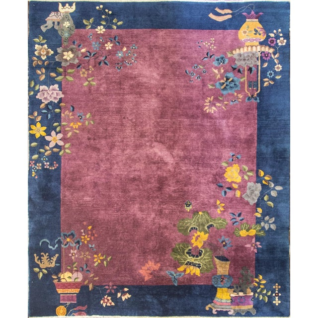 """Antique Art Deco Chinese Oriental Rug-8' X 9'6"""" For Sale - Image 12 of 12"""