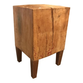1980s Contemporary Small Butcher Block Accent Table For Sale
