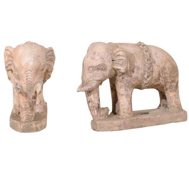 Pair of Eclectic 20th Century British Colonial Terracotta Elephants in Pale Pink For Sale