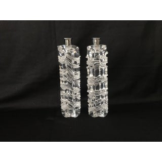 Vintage Mid Century Modern Lucite Acrylic Acid Etched Candlesticks Candle Holders Preview