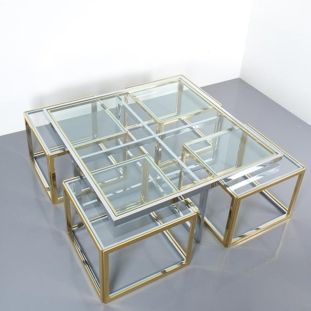 Square Segment Bicolor Brass Glass Coffee Table by Maison Charles, France 1975 For Sale - Image 10 of 13