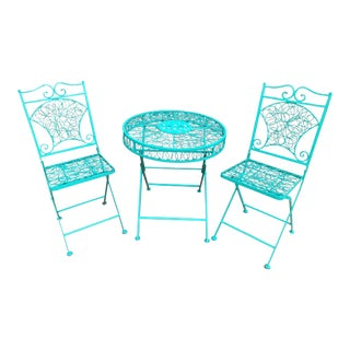 Mid-Century Modern Patio Bistro Table and Chairs For Sale
