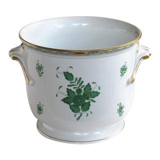 1950's Herend White-Glazed Green Polychromed & Gilt Floral Cachepot For Sale