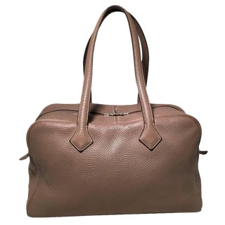 Hermes Grey Clemence Leather Victoria II 35 For Sale