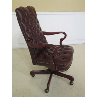1990s Vintage Burgundy Leather Tufted Back & Seat Office Desk Chair Preview