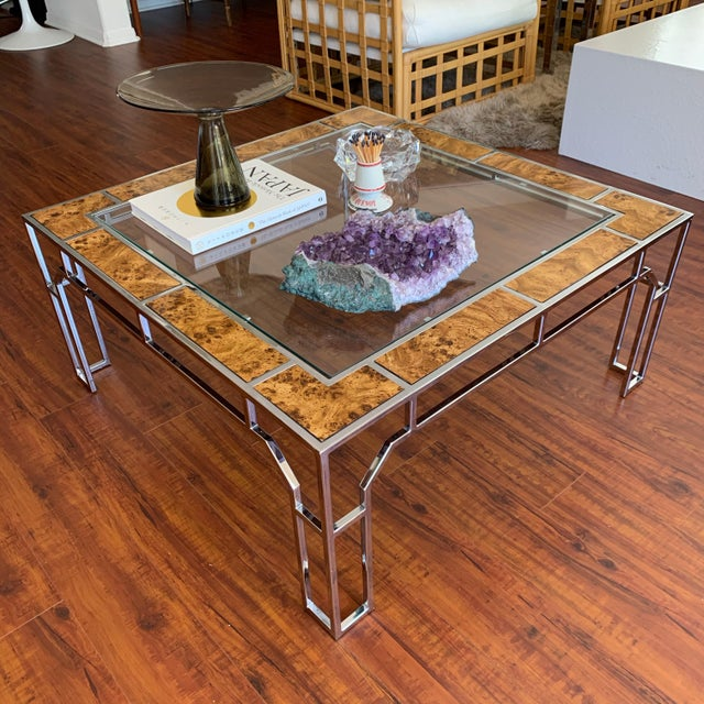 Chrome Chrome and Burl Wood Chippendale Style Square Coffee Table For Sale - Image 8 of 9