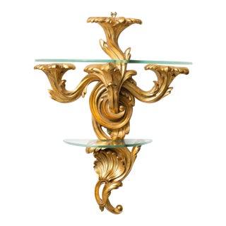 Pair of Gilt Rococo Style Brackets with Glass Shelves For Sale