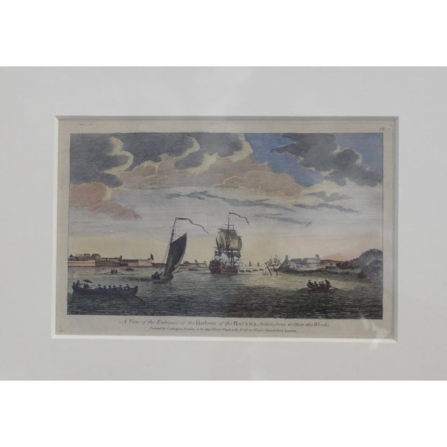 Rare, original hand colored copper engraving by Peter Canot, 1764 of harbor taken from the within the wrecks. Dimensions:...