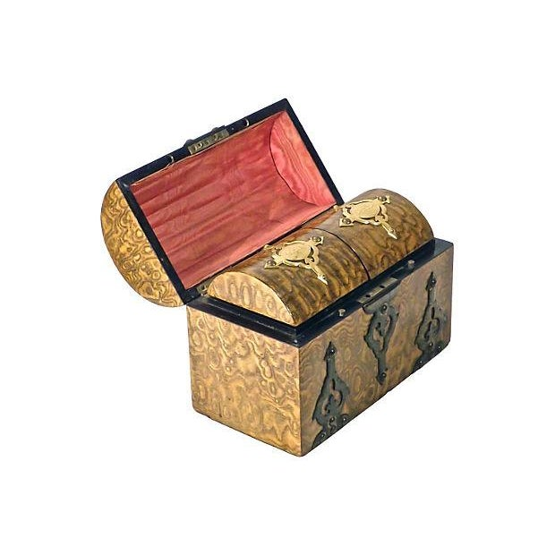 Antique 19th-century English, Neo-Gothic-style burl wood and brass tea caddy with barrel-style hinged lid. Interior has...