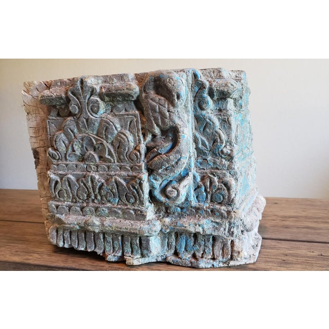 19th Century Architectural Salvage Hand Carved Wood Moulding Block From India For Sale - Image 12 of 12