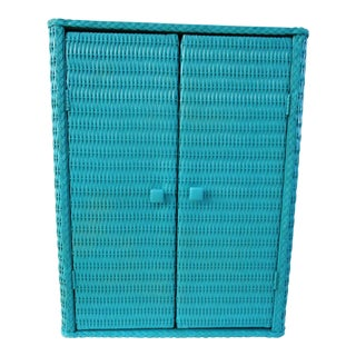 1960s Shabby Chic Turquoise Wicker Cabinet For Sale