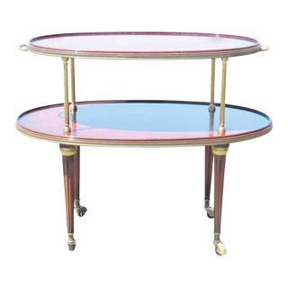 Jansen Style Walnut & Brass Two-Tier Dessert Cart For Sale