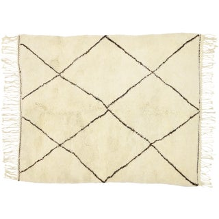 Contemporary Modern Beni Ourain Moroccan Rug - 5′3″ × 6′5″ For Sale