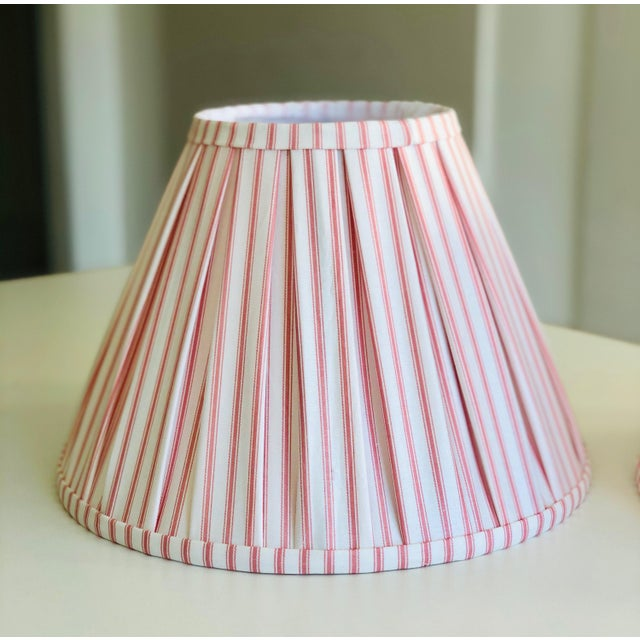 Pair of Custom Box Pleat Lampshades in Claremont Ian Mankin Pink Ticking Stripe Fabric. Perfect condition - never been...