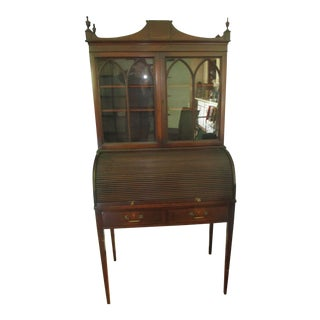 1920's Traditional Mahogany Covered Secretary Desk With Locking Glass Cabinet Attached For Sale