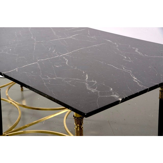 Italian Directoire Style Table With Black Marble Top and Brass Base For Sale - Image 11 of 13