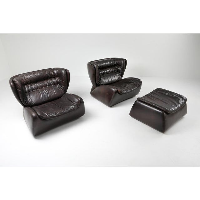 Dark Brown 'Pasha' Lounge Chairs by Durlet - 1970's For Sale - Image 4 of 13