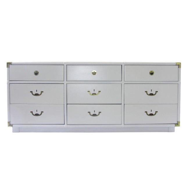 Vintage Drexel Campaign Dresser Lacquered in White For Sale